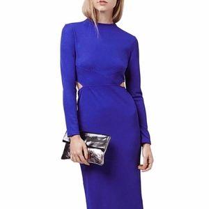 Topshop Paneled Long Sleeve Midi Dress